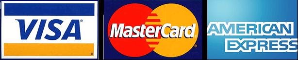 Visa, Mastercard, and AMEX Logos